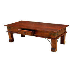 Sierra Living Concepts - Amish One Drawer Shaker Solid Wood Rustic Coffee Table - Rectangular Artistic Solid Indian Rosewood Classic Shaker Style Coffee Table with one storage drawer is the perfect edition to your living room. The rich color and simple yet elegant design fits into any room setting.