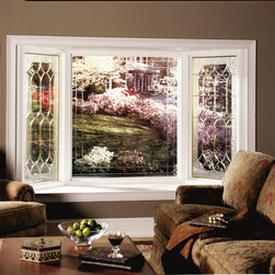 3-Lite Bay Window - 1/4, 1/2, 1/4 Bay Window with decorative glass picture window flankers