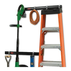 8 Piece Kit | FastTrack Garage Organization System by Rubbermaid - If you EVER get around to actually cleaning out the garage, do yourself a favor and order up this organization system first. It will help you get all of the stuff you actually use off the floor and on the wall, while you weed out all the useless garbage that isn't worth hanging up!