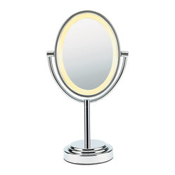 Conair Double-Sided-Lighted Oval Mirror, Polished Chrome