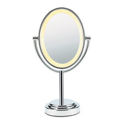 Conair - Conair Double-Sided Lighted Oval Mirror. Polished Chrome - Why have one mirror when you can have two for the same price? And why just have two regular mirrors when you can have one that is seven times the magnification strength? This dual-sided lighted oval mirror rotates 360 degrees and stays clear even after long, steamy showers.