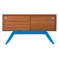 Eastvold Furniture - Elko Credenza Small, Bamboo, Blue Base - It might look like a prized midcentury collectible, but this credenza is custom-crafted in Minnesota in your choice of base colors. Reinforced mitered joints allow the bamboo grain to wrap the exterior in a continuous sweep, while adjustable shelves and wire chases inside offer flexible storage for the den, dining room or office.