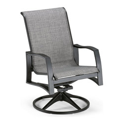 Telescope Casual Momentum Sling Aluminum Swivel Rocker - The Telescope Casual Momentum Sling Aluminum Swivel Rocker is built to be restful as well as durable. Stylish and comfortable, each swivel rocker features an all-weather powder-coated aluminum frame made of 100% recycled aluminum. You have a wide range of frame finishes to choose from, and the sling comes in an array of colors. Replaceable sling fabric is made from stretchable elastomeric material that offers better comfort and durability. Made in the U.S.A. No assembly required. Dimensions: 25.75L x 29W x 38H inches. About Telescope Casual FurnitureAfter 100 years in an industry where design differentiation is crucial for success, Telescope Casual Furniture has become known for its ability to stand out. The century-old manufacturer exceeds most retailers' expectations not only by consistently turning out unique products, but also by maintaining an unwavering stance with respect to quality. Recipient of the Casual Furniture Retailers Association Manufacturer Leadership Award, the Granville, N.Y.-based company will continue to push the envelope on already high standards for the next 100 years.