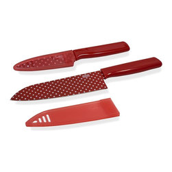 "Kuhn Rikon - Kuhn Rikon 6.5"" Chef's Knife and 4"" Paring Knife Set Colori Red Polka Dot - This Red Polka Dot Colori Knife Set can handle all your kitchen prep tasks. The 6.5 Chef's Knife is ultra sharp in so many ways quality, performance, and Swiss design. The 4 Paring Knife Colori is perfect for slicing cheese for a sandwich, peeling an apple for a snack or chopping vegetables for a salad."