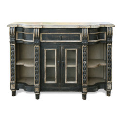 Koenig Collection - Old World Mediterranean Sienna Buffet, Distressed Charcoal with Grey - Old World Mediterranean Sienna Buffet