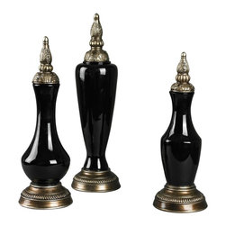 Sterling Industries - Set Of 3 Gloss Black Finials - Set Of 3 Gloss Black Finials