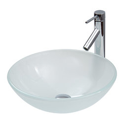 Vigo - White Frost Vessel Sink and Faucet Set in Chrome - The VIGO White Frost glass vessel sink with Chrome faucet set is stylish and attractive.