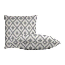 """Cushion Source - Ikat Fret Pewter Throw Pillow Set - The Ikat Fret Pewter Throw Pillow Set consists of 18"""" x 18"""" throw pillows with a globally-inspired diamond ikat pattern in silver on a cream background."""