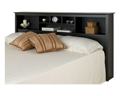 Prepac - Prepac Sonoma Black King Bookcase Headboard - Add storage space to your bedroom with the king bookcase headboard. Designed to complement any decor, this headboard comes with six storage compartments for your bedside necessities and accessories. The varying compartment sizes add visual appeal and give you display options for large and small items. This free-standing piece is designed to be paired with any standard king bed including our king mate's platform storage bed.