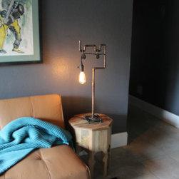 steampunk copper desk lamp edision bulb -