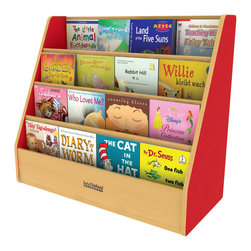 Ecr4kids - Ecr4Kids Classroom Colorful Essentials Big Book Display Stand Red - Single-sided book display with four easy-to-reach shelves. Easy-to-clean stain resistant laminate. a warm maple finish your choice of side color.