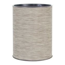 Lamont Home - Cambria Round Wastebasket Sage/Brown - Made from high quality PVC/Polyester fabric, these traditional styles have been updated in a wide range of patterns to match any decor. A vinyl lid with metal grommet completes the look for the hamper. A very durable product that adds style to any laundry room.