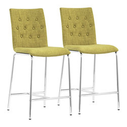 "Zuo - Set of 2 Zuo Uppsala Pea Counter Chairs - Set of 2 Zuo Uppsala Pea Counter Chairs Set of 2 transitional contemporary counter chairs. Pea green fabric. Steel construction. Straight back with button tufting. Chrome finish metal legs and base. Includes a convenient and comfortable footrest. Versatile seating for a kitchen or home lounge. A beautiful addition to your home from Zuo Modern. Assembly required. 16 1/2"" wide. 20"" deep. 39"" high.  Set of 2 transitional contemporary counter chairs.  Pea green fabric.  Steel construction.  Straight back with button tufting.  Chrome finish metal legs and base.  Includes a convenient and comfortable footrest.  Versatile seating for a kitchen or home lounge.  A beautiful addition to your home from Zuo Modern.  Assembly required.  16 1/2"" wide.  20"" deep.  39"" high."