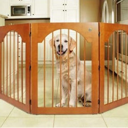 Majestic Pet - Universal Free-Standing All-Wood Pet Gate in Cherry - Features: -Pet gate. -Are ideal for keeping your pets confined, while still keeping your home elegant. -Built with solid-wood and triple hinge construction. -Are both durable and versatile. -Double jointed hinges allow the gate to be configured in either a C  Shape or Z  Shaped configuration (as pictured). -Gates are ready to use right out of the box, no assembly required. -No mounting to your walls, means no unsightly holes or smudges.