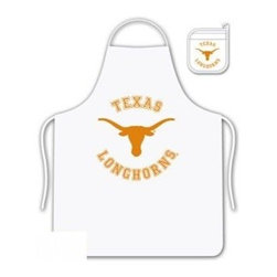 Sports Coverage - The University Of Texas Longhorns Tailgate Apron and Mitt Set - Set includes your favorite collegiate Texas University Longhorns screen printed logo apron and insulated cooking mitt. White apron with white silver backed mitt. Both items are logoed. Tailgate Kit apron and mit is 100% cotton twill with screenprinted logo.