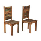 Sierra Living Concepts - Rustic Distressed Reclaimed Wood Multi Color Dining Chairs Set of 2 - Settle down to old fashion comfort and handcrafted excellence with our Oklahoma Farmhouse Washboard Back Chairs.