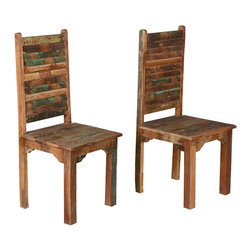 Sierra Living Concepts - Rustic Reclaimed Wood Multicolor Dining Chairs, Set of 2 - Settle down to old fashion comfort and handcrafted excellence with our Oklahoma Farmhouse Washboard Back Chairs.