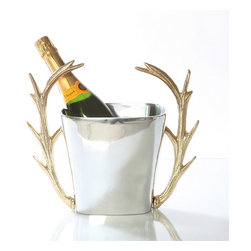 Frontgate - Stag Champagne Bucket - Handmade. Sand cast of proprietary metal alloy. 24k gold plating. Food safe. Tarnish-resistant. Handcrafted from beautiful sand-cast metal alloy, the distinctive Staghorn Champagne Bucket combines rustic and refined sensibilities for a luxurious look. Two 24k gold-plated antler handles accent the silver bucket for elegant and artful presentation of your favorite bottle of wine or champagne.  .  .  .  .  . Hand wash with mild detergent; towel dry .
