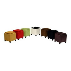 Armen Living Micro Fiber Storage Ottoman - Whether you choose a single shade or decorate your space with an entire rainbow of color, the Armen Living Micro Fiber Storage Ottoman makes a delightful addition to any setting. You can use it to sit, serve, put up your feet, or store away anything from linens to multimedia and even the family photo album! It's a versatile furnishing that's vibrant, comfortable, and well-built so you'll always be able to depend on it. The Armen Living Micro Fiber Storage Ottoman is made from sturdy kiln-dried hardwood with an espresso finish seen on the legs alone while the rest is covered in a synthetic microfiber that's easy to clean and available in black, brown, green, red, sky blue, and pure white. Two size options are available as well. Select between the 17W x 17D x 20H inch model or the 18W x 18D x 18H inch.About Armen LivingImagine furniture without limits - youthful, robust, refined, exuding self-expression at every angle. These are the tenets Armen Living's designers abide by when creating their modern furniture collections. Building on more than 30 years of industry experience, Armen Living combines functional versatility and expert craftsmanship into their dramatic furniture styles, all offered at price points fit for discriminating budgets. Product categories include bar stools, club chairs, dining tables, ottomans, sofas, and more. Armen Living is based in Sun Valley, Calif.