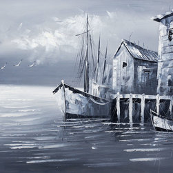 """overstockArt.com - Fishing Boats (Evening Effect) - 20"""" X 24"""" Oil Painting On Canvas This is a remarkable black and white oil painting captivates viewers with its simplicity. Busy color schemes are replaced with two tones which are sure to make interior designing a much easier task."""