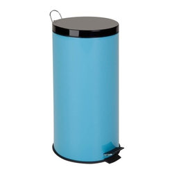 30L Metal Step Trash Can, Blue - Honey-Can-Do TRS-02075 Steel Step Trash Can, Robin's Egg Blue. A contemporary and colorful addition to any home or office, this 30L trash can boasts sturdy construction for daily use. Perfect for brightening up the kitchen, laundry room, or office. The steel foot pedal provides hands-free operation to keep germs at bay. A removable inner bucket keeps bags from snagging and is easily cleanable. The bright blue, hand print resistant exterior is easy to clean and features a plastic fold down carrying handle.