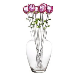 Home Essentials - Bouquet of Glass Pink Roses with Vase - Beautifully handcrafted by expert hands, these pink roses with green leaves portray a symbol of purity, love and a flow of sweet smelling emotions. On her Birthday, your Anniversary or Valentine's Day, let your loved one experience the beauty of handcrafted glass. In addition, the high quality glass vase will add sparkle and drama wherever displayed. * Set of 6 roses * Glass vase included * Gift boxed