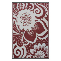 Fab Habitat - Indoor/Outdoor Maui Rug, Cranberry Red & Cream, 5x8 - Add a touch of flower power to your patio or playroom. This playful all-weather rug is woven from straws made of recycled plastic. Washable and mildew resistant, it's an ideal blend of good looks and easy maintenance. Comes with its own tote bag for convenient transport or storage.