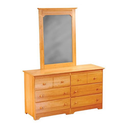 Atlantic Furniture - Windsor 6 Drawer Dresser with Portrait Mirror - Natural Maple - AC6965205 - Shop for Dressers from Hayneedle.com! With its warm finish classic design and expert craftsmanship the Windsor 6 Drawer Dresser with Portrait Mirror - Natural Maple is a great choice for any family. Made to last from infancy through the teenage years this beautiful dresser is crafted from eco-friendly hardwood with a gorgeous certified non-toxic natural maple finish. Durable hardwood casings and plywood drawers add to the craftsmanship of this dresser. Each drawer is easy to pull out and push in with its smooth rolling ball bearing design while the English dovetail joinery on the drawers adds to its strength durability and longevity. The Windsor Portrait Mirror sits perfectly atop this dresser and is framed in matching wood. Both the dresser and the mirror feature small detailing that adds depth and character to the set. Additional Features Durable hardwood casing Drawers constructed from plywood Ball bearing drawer guides roll smoothly English dovetail joinery on drawers High build finish is certified non-toxic Ships fully assembledAbout Atlantic FurnitureFounded in 1983 as Watercraft Inc. Atlantic Furniture started as a manufacturer of pine waterbed frames. Since then the Springfield Mass.-based company has expanded to Fontana Calif. The company has moved away from the use of pine and now specializes in imported furniture made of the wood of rubber trees.The Benefits of Eco-Friendly RubberwoodPrized as an environmentally friendly wood rubberwood makes use of trees that have been cut down at the end of their latex-producing life cycle. The trees are removed by hand and replaced with new seedlings. In the past felled rubber trees were either burned on the spot or used as fuel for locomotive engines brick firing or latex curing. Now the wood is used in the manufacture of high-end furniture. It is valued for its dense grain stability attractive color and acceptance of diff
