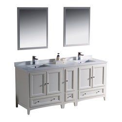 "Fresca - 72 Inch Double Sink Bathroom Vanity in Antique White, Antique White - Blending clean lines with classic wood, the Fresca Oxford Traditional Bathroom Vanity is a must-have for modern and traditional bathrooms alike. The vanity frame itself features solid wood in a stunning antique white finish that's sure to stand out in any bathroom and match all interiors. Available in many different finishes and configurations.  Dimensions: 72""W X 20.38""D X 32.63""H (Tolerance: +/- 1/2""); Counter Top: White Quartz Stone; Finish: Antique White; Features: 5 Doors, 3 Drawers; Soft Close Hinges; Hardware: Chrome; Sink(s): 16.25"" X 11.5"" X 6.5"" Undermount White Ceramic Sink; Faucet: Pre-Drilled for Standard Single Hole Faucet (Included); Assembly: Light Assembly Required; Large Cut Out in Back for Plumbing; Included: Cabinet, Sink, Choice of Faucet with Drain and Installation Hardware, Mirror (26""W X 31.88""H); Not Included: Backsplash"