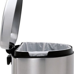 simplehuman - Semi-Round Step Trash Can in Brushed Stainless Steel - Features: -Step trash can. -Brushed stainless steel finish. -Solid steel pedal. -Patented silent closed lid shox technology controls motion of the lid for slow and silent close. -Space efficient semi round shape great for high traffic areas. -Fingerprint-proof finish resists smudges keeps stainless steel shiny. -Hide excess bag tuck opening tucks away excess bag so it stays neatly out of sight. -Slim profile hinge slimmer than traditional hinge design allows you to place the can closer to the wall. -Stay open lid keeps lid open whenever you need it - great for long chores. -Sturdy non-skid base has rubber pads that are gentle on floors and keep the can steady. -Capacity: 30 liters (8 gallon). -ISTA 3A certified. -Manufacturer provides 10 year warranty.
