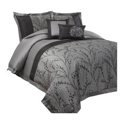Lush Decor - Flower Texture 8-pc Silver Comforter Set (Que - Choose Size: Queen8-pc set includes: One Comforter, one bed skirt, two euro shams, two pillow shams, and two decorative pillows. 250 GSM Comforter. Fabric Content:100% Polyester. Care Instructions: Comforter/bed skirt/shams: dry clean * Pillows: spot clean . Comforter: 90 in. W x 92 in. DThis jacquard and brushed poly fabric features hand construction with piercing and pin tucking. The gray background and detailing of the black branches create a design that will help to make your bedroom feel like it is part of a garden scene. Warm and striking, this 8 pc. set will become the centerpiece of any room where it is placed.