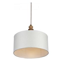 ParrotUncle - Linen Drum Shade Wood Pendant Lighting Large - Linen Drum Shade Wood Pendant Lighting Large