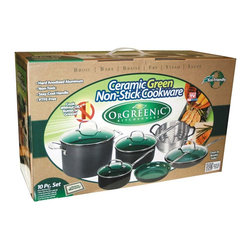 Orgreenic - 10-Piece Orgreenic Cookware Set - The trouble with most traditional non-stick cookware is that it's made with PTFE, which can emit harmful fumes if the pan becomes overheated. It can chip & flake off too - and who wants to eat chemicals?