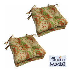 Blazing Needles - Blazing Needles 16-inch Square Outdoor Chair Cushions (Set of 4) - Add a touch of style and comfort to indoor furnishings with these Blazing Needles 16-inch chair cushions. The cushions feature a classic tufted cushion style and six varieties of patterned outdoor fabric.