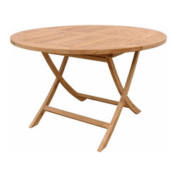"Anderson Teak - Bahama 47"" Round Folding Table - This solid teak ""4-Foot Round Folding Table"" makes the perfect addition to your patio, garden, backyard or anywhere. Fold it up and carry it away. Just put some chairs and its ready for party!"