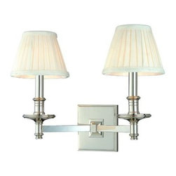 Hudson Valley - 2 Light Wall SconceLitchfield Collection - Litchfield places historical details in a robust composition.  Pleated fabric shades sit atop cast candlesticks, turned with handsome ring details.  Litchfield's straight arms anchor to stepped square backplates, completing a look that is traditional, but