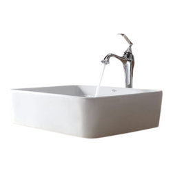 Kraus - Kraus White Rectangular Ceramic Sink and Ventus Faucet - Add a touch of elegance to your bathroom with a ceramic sink combo from Kraus.