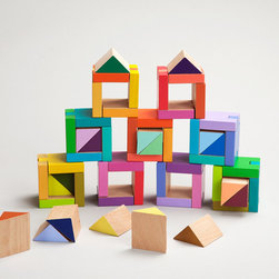Coloraturo - This simple idea has tons of style. I love these blocks designed by Karen Hewitt and produced by the Learning Materials Workshop. From the colors to the two- and three-dimensional possibilities, I'm intrigued because this set won't take up a ton of space and would look great on the shelf.