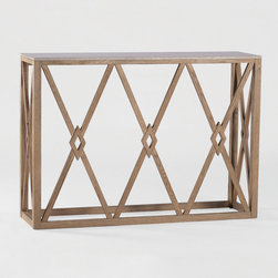 Alexander Wall Table by Gabby - The diamond pattern base of this transitional console is paired with a grey grained marble top. Perfect against the wall or behind your sofa, this geometric piece makes a statement.