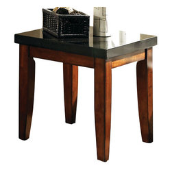 Steve Silver - Granite Bello End Table - The perfect complement to any room. The Granite Bello collection provides irresistible style and a sanctuary for all the senses. The end table features a black granite top and legs wrapped in a rich cherry finish.
