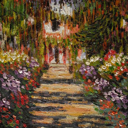"""overstockArt.com - Monet - Garden Path at Giverny - 30"""" X 40"""" Oil Painting On Canvas Hand painted oil reproduction of a famous Monet painting, Garden Path at Giverny. The original masterpiece was created in 1902. Today it has been carefully recreated detail-by-detail, color-by-color to near perfection. Why settle for a print when you can add sophistication to your rooms with a beautiful fine gallery reproduction oil painting? While Monet successfully captured life's reality in many of his works, his aim was to analyze the ever-changing nature of color and light. Known as the classic Impressionist, Monet cannot help but inspire deep admiration for his talent in those who view his work. This work of art has the same emotions and beauty as the original. Why not grace your home with this reproduced masterpiece? It is sure to bring many admirers!"""