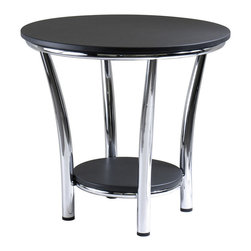 "Winsome Wood - Winsome Wood Maya Round End Table w/ Black Top & Metal Legs - Round End Table w/ Black Top & Metal Legs belongs to Maya Collection by Winsome Wood Maya Table Collection offers the ultimate in contemporary decor. Round End Table 23.75"". A large round top and small shelf 12.6"" Diameter below offer function and style. Clearance between top and shelf is 15.3"". This accent table features a polished steel frame with MDF top and shelf. Ready to assemble. End Table (1)"