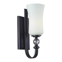 One Light Matte Black White Glass Bathroom Sconce - With a contrasting white shade and crystal sphere, this vanity fixture is a unique mix of contemporary and traditional styling. Finished in matte black, this fixture creates an elegant yet bold statement.