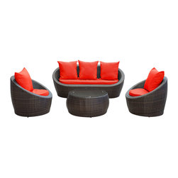 LexMod - Avo Outdoor Wicker Patio 4 Piece Sofa Set in Brown with Red Cushions - Lounge confidently and transform casual expeditions into life-changing accomplishments with this modern outdoor set. Entertain guests from far and near as you jump-start gatherings and transcend starting points of engagement. Absorb true relaxation and merge with the moment into a private seating occasion to remember.