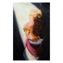 Nersel zur Muehlen - Oil Painting of Belly Dancer, Portrait, Original Art - Portrait of a Belly Dancer in spotlight