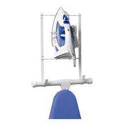 Spectrum Diversified Designs - Ironing Board Holder - Organize your laundry room with the Wall Mount Ironing & Board Holder. This handy rack lets you easily store your  torstyle ironing board out of the way. Made of sturdy steel, this white holder can be easily mounted onto a wall or door.