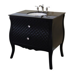 Bellaterra Home - 35.4 in Single sink vanity-wood-black - Solid wood construction and features unique diamond wood pattern on the front panels. Genuine crystal knobs accentuate the luxury look. Extra wide and deep drawers for storage.