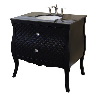 Bellaterra Home - 35.4 Inch Single Sink Vanity-Wood-Black - Solid wood construction and features unique diamond wood pattern on the front panels. Genuine crystal knobs accentuate the luxury look. Extra wide and deep drawers for storage. Vanity dimension: 35.4 W x 22 D x 36 H