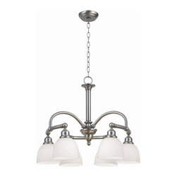 World Imports - Amelia 6 Light Chandelier in Satin Nickel Fin - Manufacturer SKU: WI 353602. Bulbs not included. Tea white opal glass. Satin Nickel. Amelia Collection. 6 Lights. Power: 100W. Type of bulb: Medium (Regular). Satin Nickel finish. Canopy 5.25. 10 ft. Chain & 12 ft. Wire. 25.375 in. W x 20.5 in. H (25 lbs.)Our Amelia Collection features single arms bursting into curved double glass holders inspired from trending bridge faucets. The Amelia collection will flourish in any modern decor.