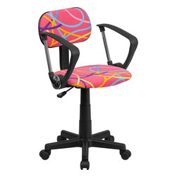 Flash Furniture - Flash Furniture Multi-Colored Swirl Printed Pink Computer Chair with Arms - This attractive design printed office chair will liven up your classroom, dorm room, home office or child's bedroom. If you're ready to step out of the ordinary then this computer chair is for you! [BT-OLY-A-GG]